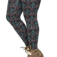 Plus Size Legging with Neon Pink Diamond Tribal Print
