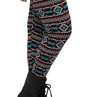 Plus Size Wine and Turquoise Aztec Print Legging
