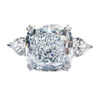 8.15ct EVS2 Cushion and Pear Diamond Ring