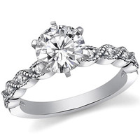 Round Moissanite Rope Style Engagement Ring Setting (.12ct) [eng853] - $420.00 : MoissaniteCo.com, Fine Moissanite Rings and Moissanite Jewelry