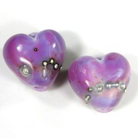 Heart Beads Purple Handmade Lampwork Beads EDP Shiny Silver