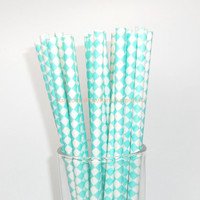 50 Aqua Blue Diagonal Checkered Paper Straws with Free Printable Flags