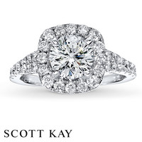 Scott Kay Ring Setting 3/4 ct tw Diamonds 14K White Gold