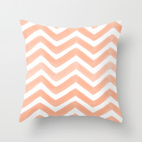 PEACHY: PAINTED CHEVRON Throw Pillow by Rebecca Allen