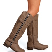 Beige Double Buckle Boots