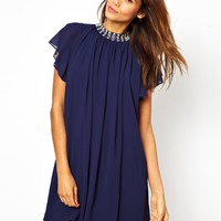 TFNC Swing Dress With Embellished Neck