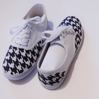 Custom Handpainted Houndstooth Canvas Shoes