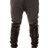 The Vegan Leather Panel Sweatpants in Grey