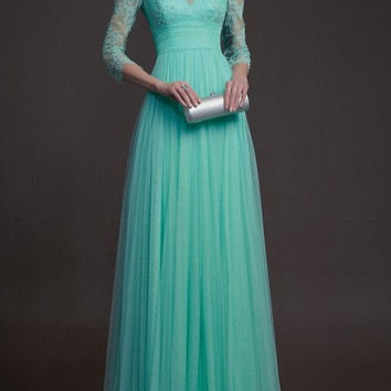 Custom Vintage Long Sleeve Fully Back Lace Wedding Dress/Bridesmaids Dress/Prom Dress K149