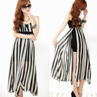 New Womens Chiffon Striped Split Faux 2 Pcs Empire Waist Strapless Long Dresses