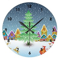 Christmas tree in a colorful village winter custom wallclocks
