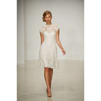 Alluring Sleeved Vintage Knee Length Satin and Lace Wedding Dress