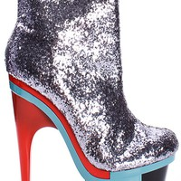 PEWTER GLITTER MULTICOLOR STACKED PLATFORM HIGH HEEL ANKLE BOOTIES