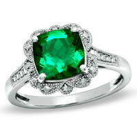 8.0mm Cushion-Cut Lab-Created Emerald Vintage-Style Ring in Sterling Silver - Size 7