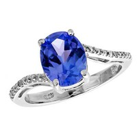 Oval Lab-Created Blue Sapphire and Diamond Accent Ring in Sterling Silver