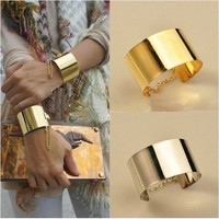 2013 Fashion Korean Style lady's Golden/S Metallic Wide Bangle Chain Bracelet