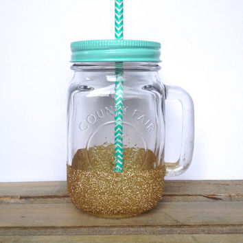 Mason Jar To Go Cup - Customizable Gold Glitter Mason Jar Mug, Teacher Gift, Co-worker Gift, Teenager Gift, Birthday Present, Mom Gift