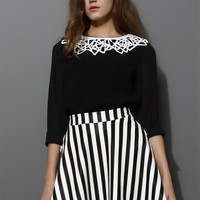 Contrast Cut Out Collar Chiffon Black Top