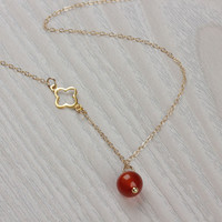 "Carnelian necklace, gold clover necklace, lucky necklace, orange stone necklace, Natural Stone Pendant, tiny charm necklace, ""Gelus"""