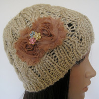 Cable Knit LIght Tan Khaki Beanie with Mocha Chiffon Flower and Multi Colored Flower Accent