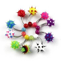 Lot of 10 Colorful 14G UV Silicon Ball Soft Spike Navel Rings Belly Bar Body Jewelry