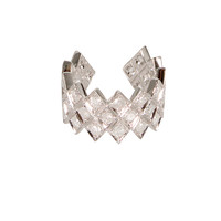 ELISE DRAY PAVED WHITE GOLD WHITE DIAMONDS HARLEQUIN PHALANX RING