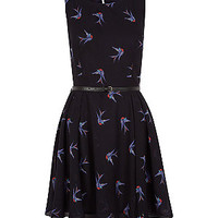 Dark Blue Swallow Print Belted Dress