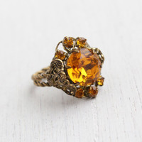 Antique Art Deco Amber Glass Stone Ring - 1930s Czech Brass Adjustable Filigree Statement Costume Jewelry / Czechoslovakia
