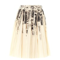 Colour-block on light-print pleat skirt
