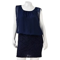 Trixxi Lace Glitter Dress - Juniors' Plus