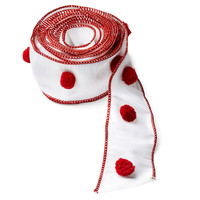 "3"" Pom-Pom Ribbon, White/Red"