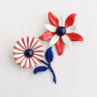 Vintage Red, White, & Blue Enamel Flower Brooch Lot - 2 Retro 1960s Mod Costume Jewelry Pins / Patriotic Floral