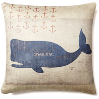 """Dream Big"" Whale 20x20 Pillow, Blue"