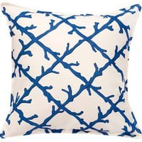 Coral Lattice 20x20 Pillow, Bright Blue