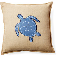 Turtle 20x20 Burlap Pillow, Blue