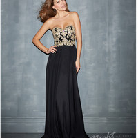 (PRE-ORDER) Night Moves by Allure 2014 Prom: Black Chiffon & Beaded Strapless Prom Gown