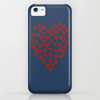 Hearts Heart Red on Navy iPhone & iPod Case by Project M