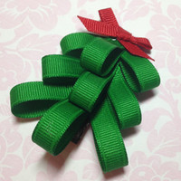 Ribbon Sculpture, Girls Hair Accessory, Girls Hair Bow, Grosgrain Hair Bow, Christmas Tree Hair Clip