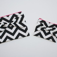 Cosmetic Case Set / Makeup Pouches - Black and White Chevron with Custom Color Interior, Zipper and Bow Style