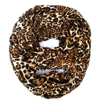 Fun Animal Print Infinity Scarf Black Brown Camel Leopard Infinity Loop Scarf Trendy Leopard Circle Scarf Cute Women Teen Holiday Gift