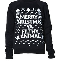 Womens Long Sleeved Merry Christmas Ya Filthy Animal Sweater (Mtc) (4/6 (uk 8/10), black)