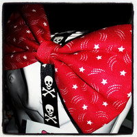 Shooting Stars: Red and White Fabric Hair Bow
