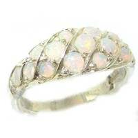 Luxury Ladies Solid Sterling Silver Natural Fiery Opal Band Ring - Finger Sizes 5 to 12 Available