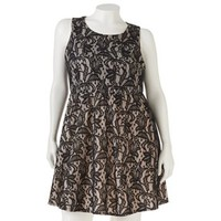 HeartSoul Lace Skater Dress - Juniors' Plus