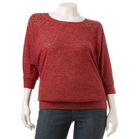 HeartSoul Studded Dolman Top - Juniors' Plus