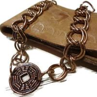 Mans Copper Link Bracelet, Handmade, Masculine, Gift For Him,