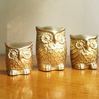 Vintage Brass Owl Figurines, Gold Owl Statues, Three Gold Owls, Brass Animal, Paperweights