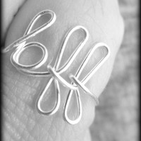 ON SALE - bff ring - best friend ring - maid of honor ring - friend ring - script ring - word ring - gift boxed