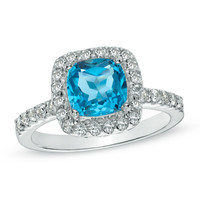 7.0mm Cushion-Cut Swiss Blue Topaz and Lab-Created White Sapphire Ring in Sterling Silver - Size 7