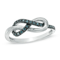1/10 CT. T.W. Enhanced Blue Diamond Infinity Knot Ring in Sterling Silver